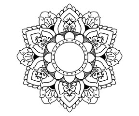 Black Thai mandala pattern vector design.