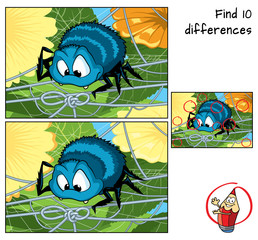 Funny spider trying to unravel its web. Find 10 differences. Educational game for children. Cartoon vector illustration