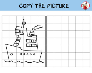 Funny cartoon ship. Copy the picture. Coloring book. Educational game for children. Cartoon vector illustration