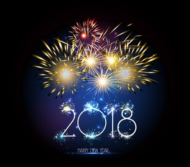 Happy New Year 2018 clock and Firework