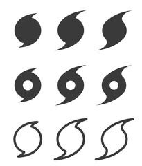 Hurricane flat symbols, vector