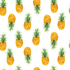 Pattern with yellow pineapple on a white background