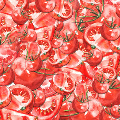 Watercolor background, card, postcard, invitation with a picture of a red tomato. Vegetables are slices, whole, half. Vintage illustration.