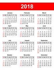 USA calendar grid in vector