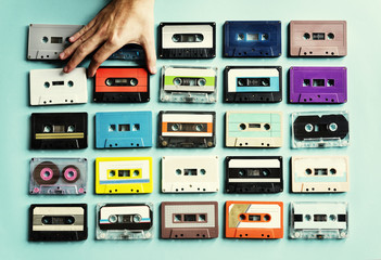 Cassette tape vintage style collection Wall mural