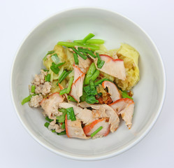 Asian style noodle with wonton and pork.