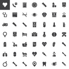 Medicine and Health vector icons set, Medical modern solid symbol collection, filled pictogram pack. Signs, logo illustration. Set includes icons as heart, hospital, stethoscope, syringe