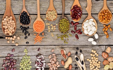 Assortment of legumes beans (Mung bean, Soya bean, Red kidney bean, Navy bean, Peanut) in wooden spoon on wooden background, top view.