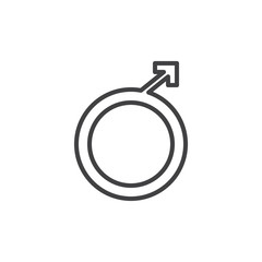 Male gender line icon, outline vector sign, linear style pictogram isolated on white. Symbol, logo illustration. Editable stroke