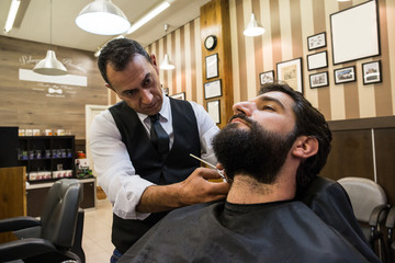 Elegant mature barber using scissors and cutting beard of handsome male customer in chair.