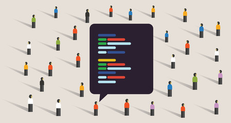 open source software development coding collaboration crowd working together line of code exchange digital Wall mural