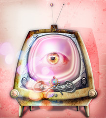 Garden Poster Imagination Big brother. Graffiti e collage con televisore fantascientifico e steampunk