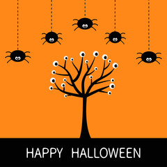 Happy Halloween card. Spider hanging Dash line. Black tree silhouette with eyes. Plant branch. Cute cartoon character set. Spooky baby illustration collection. Flat design. Orange background.