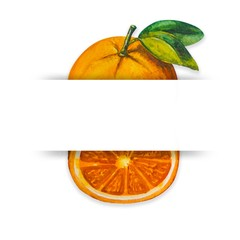 orange painting with watercolor Then designed on a white background. Blank white space in the middle for your text.