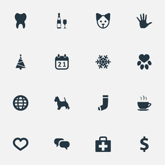 Vector Illustration Set Of Simple Brood Icons. Elements Money, Message, Alcohol And Other Synonyms Paw, Soul And Christmas.