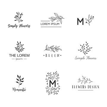 Hand drawn logo collection. Logo design with doodle flowers.