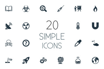 Vector Illustration Set Of Simple Science Icons. Elements Dish Antenna, Query, Conference And Other Synonyms Chemical, Weapon And Burn.