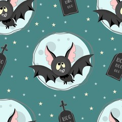 Seamless pattern with Halloween elements. Vector illustration.