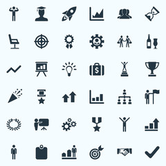 Vector Illustration Set Of Simple Success Icons. Elements Development, Correct Sign, Worker And Other Synonyms Armchair, Hero And Hierarchy.