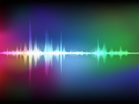Colorful abstract digital sound wave oscillating background.
