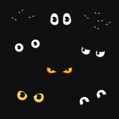 Set of funny and evil eyes in the dark - vector illustration