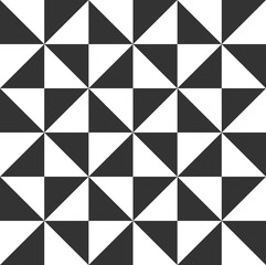 Triangular seamless black and white pattern vector