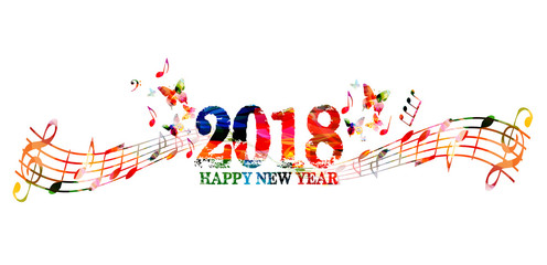 Happy New Year 2018 colorful lettering template design background, vector illustration with music notes