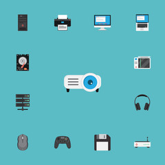 Flat Icons Hard Disk, Router, Slot Machine And Other Vector Elements. Set Of PC Flat Icons Symbols Also Includes Joystick, Processor, Computer Objects.