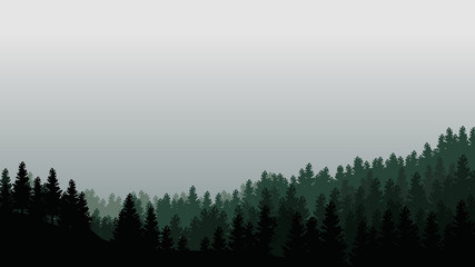 Landscape with silhouettes of trees in misty forest and light grey sky - vector illustration