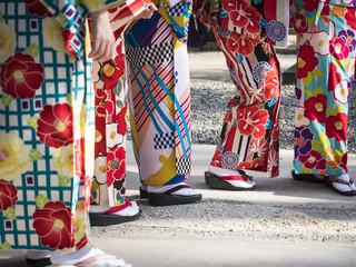 Kimono Japanese dress tradition culture Women wear Kinomo Colorful fabric pattern