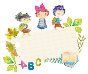 Welcome back to school! Cute watercolor school kids
