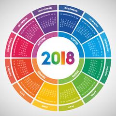 Colorful round calendar 2018 design