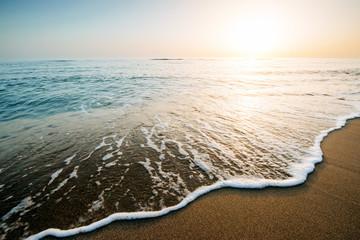 Fantastic sunset on the beach. beautiful landscape