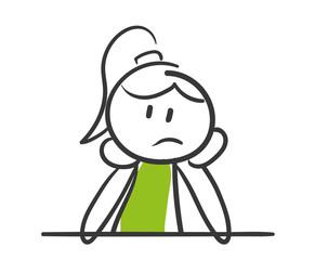 Stick Figure Series Green Woman / Nachdenken, überfordert, lustlos