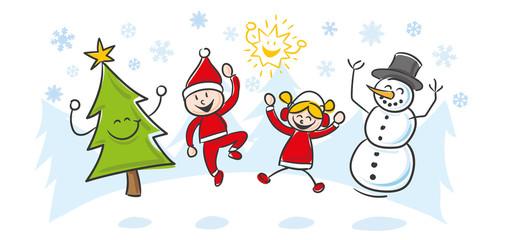 Strichfiguren Kinder Weihnachten