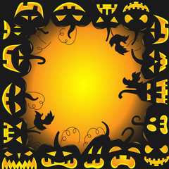 The background image for Halloween, the pumpkin with different faces in a circle space for labels in the middle
