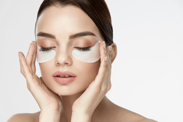 Eye Skin Mask. Female With Under Eye Patches On Face