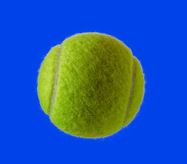 New tennis ball  isolated on blue