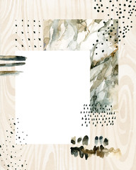 Abstract watercolor background with doodles, marbling, grained, grunge, paper textures.