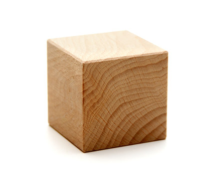 wooden geometric shapes cube  isolated on a white
