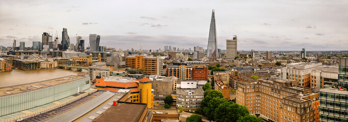 Aerial panorama of London riverside and City skyline