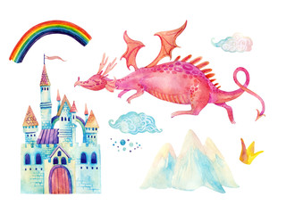 Watercolor fairy tale collection with cute dragon, rainbow, magic castle, little princess crown, mountains and fairy clouds