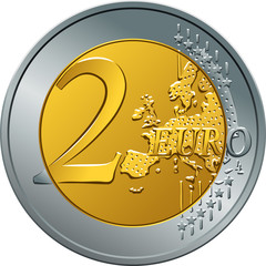 Reverse gold and silver money gold coin two euro with Value
