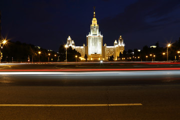Moscow university night view
