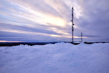 On the top of Saariselkä fell in Lapland, Finland. Beatiful winter landscape with white snow.