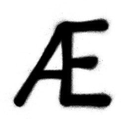 sprayed Scandinavian vowel graffiti font in black over white