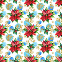 Watercolor poinsettia and golden snowflakes seamless pattern.