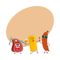 Happy beer can, meat steak and frankfurter sausage characters having party, cartoon vector illustration with space for text. Funny smiling beer can, steak and sausage characters celebrating