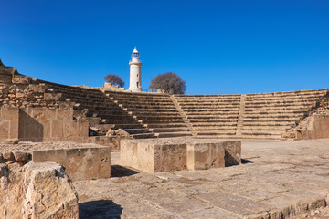 Wall Mural - Amphitheater in archaeological site in Paphos, Cyprus,