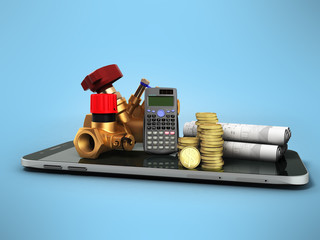 Concept of calculating sanitary connections 3d render on a blue background